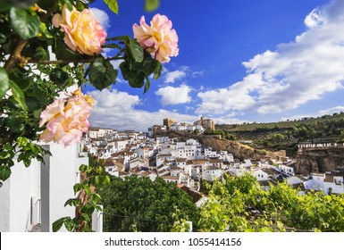 Setenil de las Bodegas village, one of the beautiful white villages (Pueblos Blancos) of Andalusia, Spain. Traditional Andalusian town