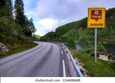 Setesdal, Norway - June 12, 2018: Road sign showing direction to Kjeragbolten, a boulder wedged in the mountain's crevasse on the mountain Kjerag and a popular tourist destination.
