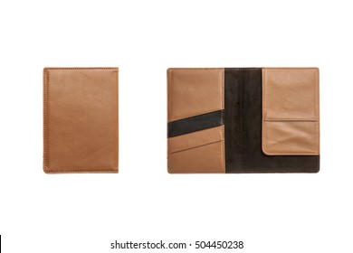 A set(group) of brown leather wallet cover and inside isolated white.