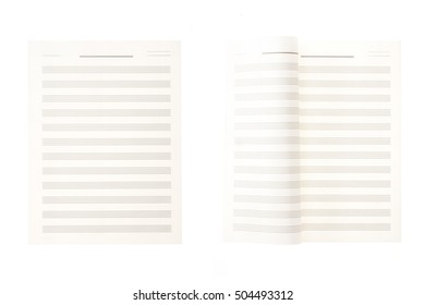 A set(group) of empty(blank) white(vintage, old) music note(book, letter) tear(rip) isolated white.