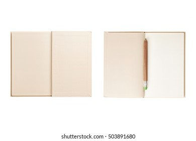 A set(group) of white(ivory) note spread with pencil isolated white.