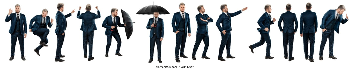 Seth, a man in a business suit in various poses isolated on a white background