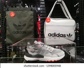 SETIA ALAM, M - MAY 15, 2019:Product Adidas original in Adidas store at SCM in Setia Alam. Adidas is a multinational corporation that designs and manufactures shoes, clothing and accessories