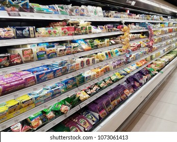 Setia Alam , Malaysia - 13 April 2018 : Cheeses section in grocery store supermarket.Mobile photoghpy.