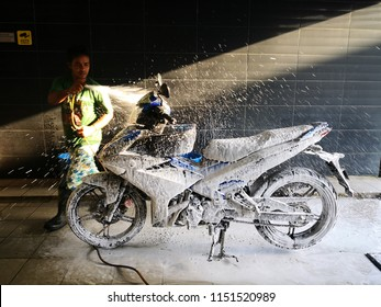 Setia Alam, Malaysia - 6th August 2018 : Wash your motorcycle at the car wash shop