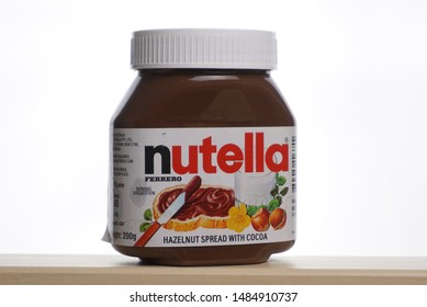 SETIA ALAM, MALAYSIA - AUGUST 2019 : Nutella chocolate on white background. Nutella is produced by Italian company Ferrero which was first introduced in 1965.