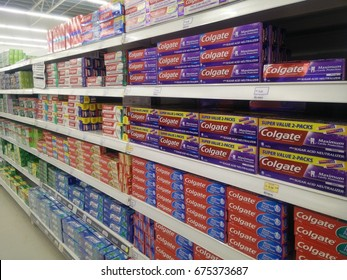 Setia Alam, Malaysia - July 11, 2017: View of a Colgate mouthwash product on the rack of local supermarket. Colgate offering a diverse range of oral hygiene product that sold worldwide