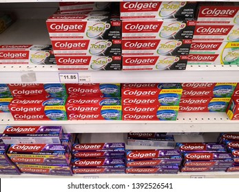 SETIA ALAM, MALAYSIA - MAY 8, 2019: Colgate, a brand of oral hygiene products such as toothpastes, toothbrushes, mouthwashes and dental floss produced by American consumer-goods company Colgate
