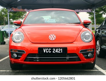 Setia Alam, Selangor, Malaysia - October 14, 2018 : The new generation of Volkswagen Beetle ( VW ), also known in world as the Bug, displayed  during Volkswagen Festival 2018 in Setia Alam, Selangor.