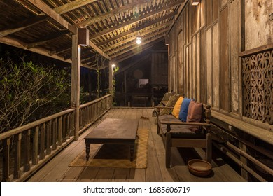 Setiu, Terengganu, Malaysia - March 7, 2020 : Night view of the verandah of a malay style traditional house at Terrapuri Heritage Village.