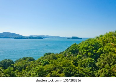 Seto Inland Sea in Japan as seen from the train at  Shikoku island, Japan