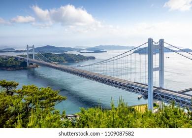 Seto Ohashi Bridge from Mt.Washu lookout in Kurashiki City, Okayama, Japan