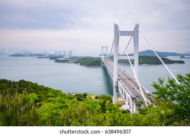 Seto Ohashi Bridge from Mt.Washu lookout in Kurashiki City, Okayama Prefecture, Japan. Seto Ohashi bridge is a bridge connecting Kurashiki City, Okayama Prefecture and Sakaide City, Kagawa Prefecture.