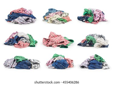 Sets of clothes isolated on white background.