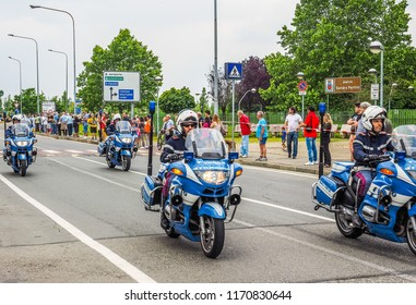 SETTIMO TORINESE, ITALY - CIRCA MAY 2015: Police on motorbikes at Giro d'Italia meaning Tour of Italy bycicle race