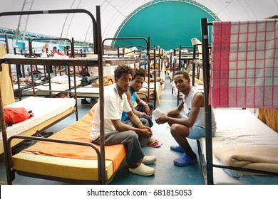 Settimo Torinese, Italy - July 18, 2017: Red Cross reception center is temporary hub for refugees arriving in Italy