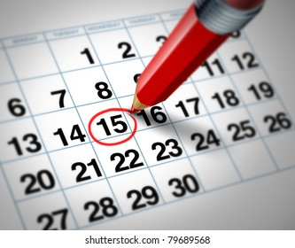 Setting an important date on a calendar with a red pencil marking a day of the month representing organizing time and schedule.