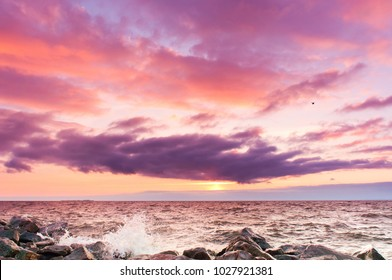 Setting into the Sea Bright Horizon