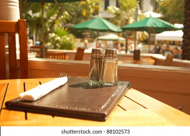 setting for meal at outdoor cafe table