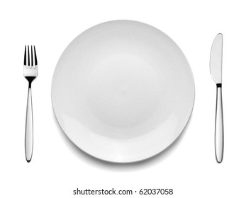 Setting with Plate, Knife & Fork (clipping path)