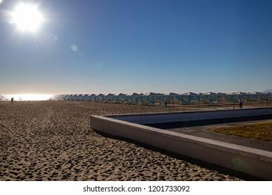 A Setting Sun Along the Coast in the Resort Town of Viareggio, Italy