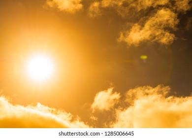 Setting sun a a cloudy Sky.
