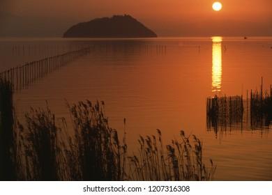 Setting sun of Lake Biwa