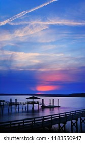 The setting sun in March, on a tidal estuary in Beaufort County, South Carolina