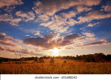 Setting Sun Over Field