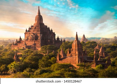Setting sun shines on the old Sulamani Temple of an ancient city of Bagan, Myanmar