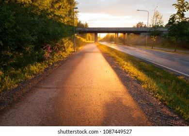 Setting sunlight illuminate pavement after rain