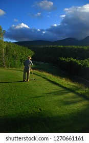 setting up for a tee shot at Sugarloaf Golf Club