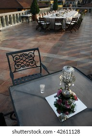 a setting of a terrace restaurant