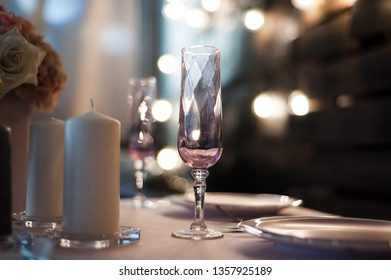 Setting the wedding table for a young couple
