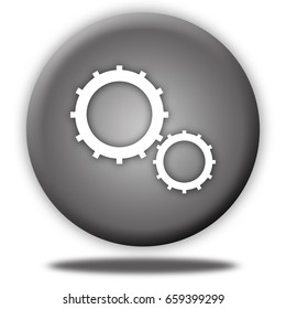 Settings button isolated, 3d illustration