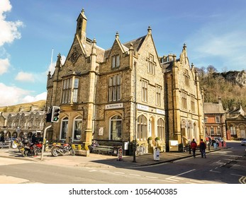 SETTLE, NORTH YORKSHIRE, UK - MARCH 26, 2018: Settle town hall. Settle is a small market town and civil parish in the Craven district of North Yorkshire, England