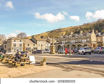 SETTLE, UK - MARCH 29 2018: Main square. Settle is a small market town and civil parish in the Craven district of North Yorkshire, England