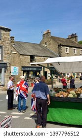 Settle, Yorkshire,United Kingdom May 14th 2019. Editorial image of a Brexit party canvassing for support at Settle market in Yorkshire