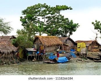 settlement at Sundarbans waterways, Bangladesh