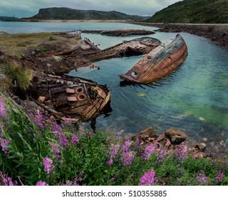 Settlement Teriberka at the Barents sea shore. Murmansk region. Russia.