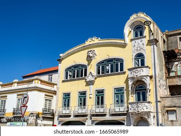 SETUBAL – September 01, 2019: Facade of a classic building of the 20th century, in Setubal, Portugal