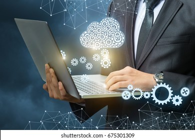 Setup data transfer from the cloud to the laptop concept.