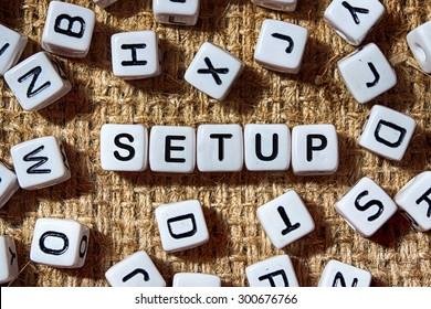 SETUP word on white blocks concept