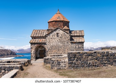 SEVAN, ARMENIA - APRIL 3, 2017: Historic Sevanavank monastery located in steep hill on peninsula was build in 9th century and is a major tourist attraction in Sevan in Gegharkunik Province, Armenia.