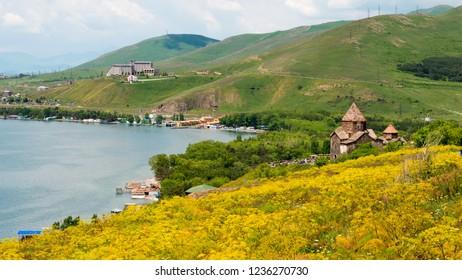 Sevan, Armenia - Jun 07 2018- Sevan lake view from Sevanavank Monastery. a famous landscape in Sevan, Gegharkunik, Armenia.