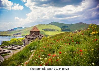 SEVAN, ARMENIA - May 2018: Sevanavank, a monastic complex located on a peninsula at the northwestern shore of Lake Sevan in the Gegharkunik Province of Armenia, not far from the town of Sevan, Armenia