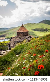 SEVAN, ARMENIA - May 2018: Sevanavank, a monastic complex located on a peninsula at the northwestern shore of Lake Sevan in the Gegharkunik Province of Armenia, not far from the town of Sevan, Armenia