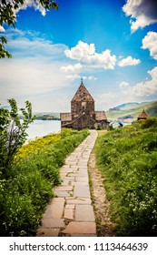 SEVAN, ARMENIA - May 2018: Sevanavank is a monastic complex located on a peninsula at the northwestern shore of Lake Sevan in the Gegharkunik Province of Armenia, not far from the town of Sevan.
