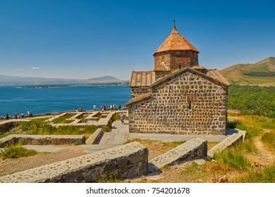 SEVANAVANK MONASTERY, ARMENIA - 02 AUGUST 2017: Famous Sevanavank Monastery Landmark on Lake Sevan in Armenia
