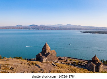 Sevanavank monastery and Sevan lake from aerial view. Old Armenian architecture. Ancient church. Caucasus mountains, Armenia
